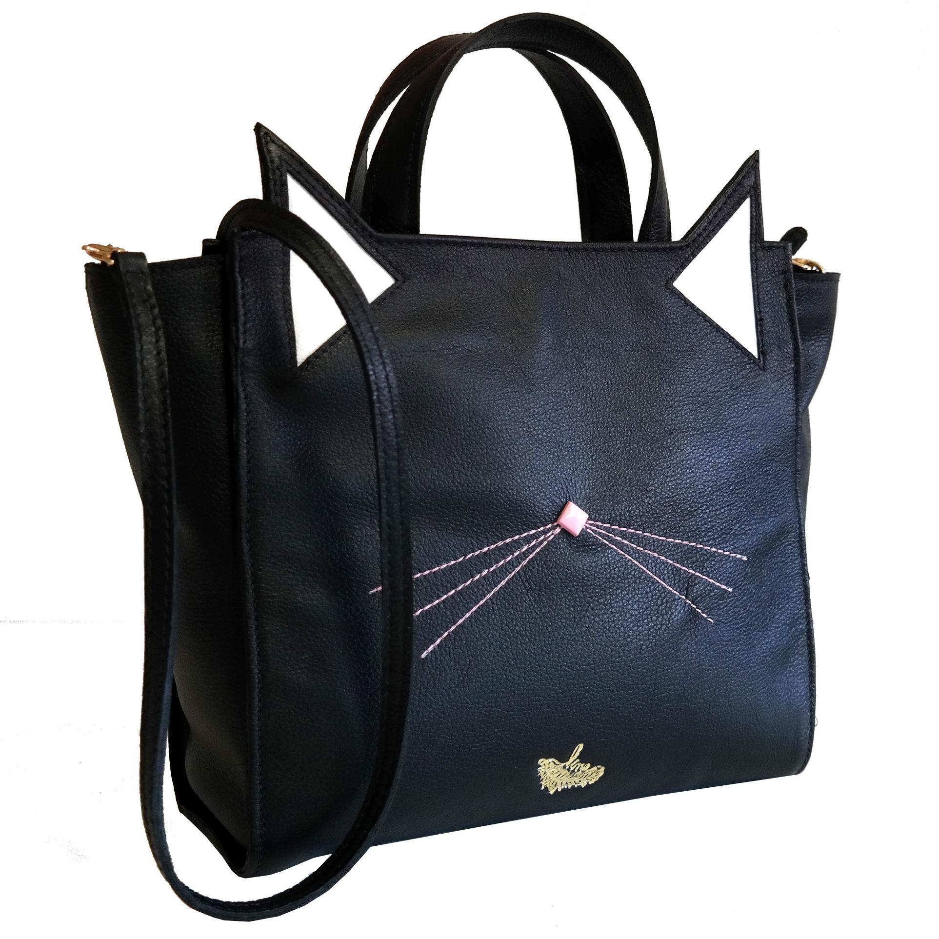 Bolsa Couro Line Cat Bag