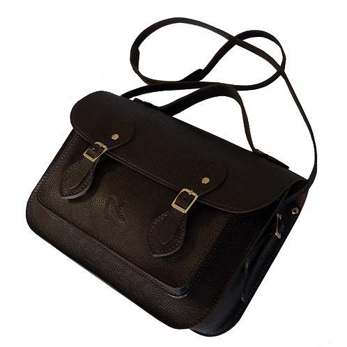 Bolsa e Pasta Satchel Clássica Line Store Leather Couro Marrom Escuro