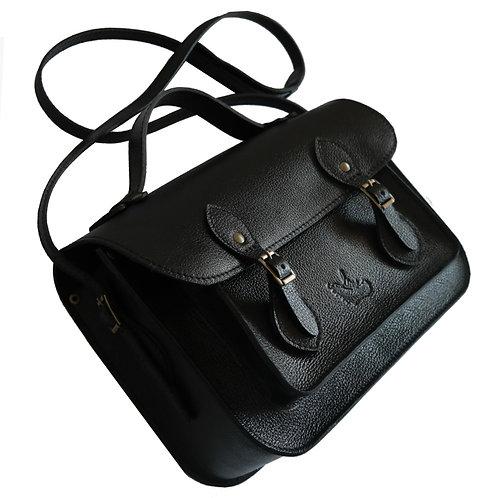 Bolsa e Pasta Satchel Clássica Line Store Leather Couro Preto