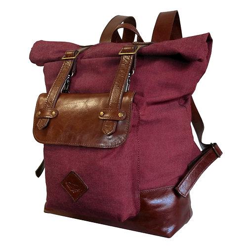 Mochila Voyage Couro e Tecido Line Store Leather - Cores Variadas
