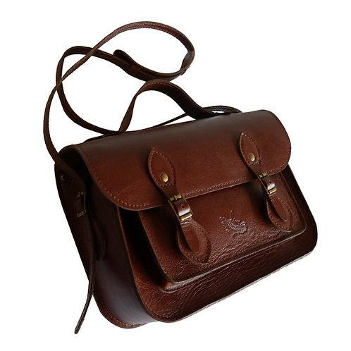 Bolsa e Pasta Satchel Clássica Line Store Leather Couro Marrom Avermelhado