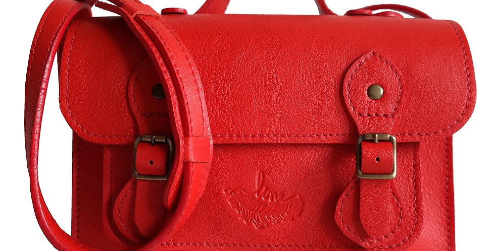 Bolsa e Pasta Satchel Clássica Line Store Leather Couro Vermelho