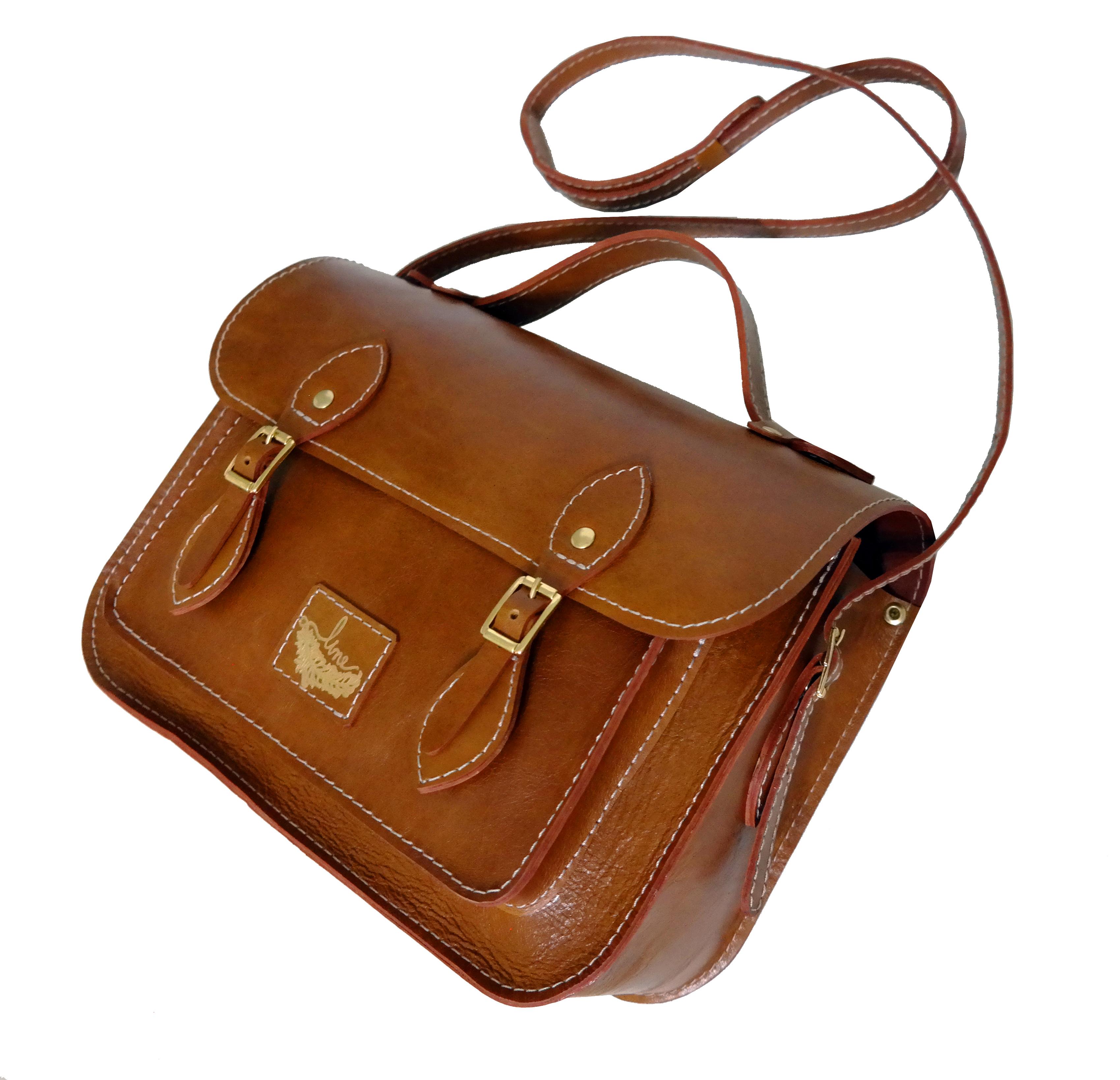 Bolsa Couro Line Satchel Bag