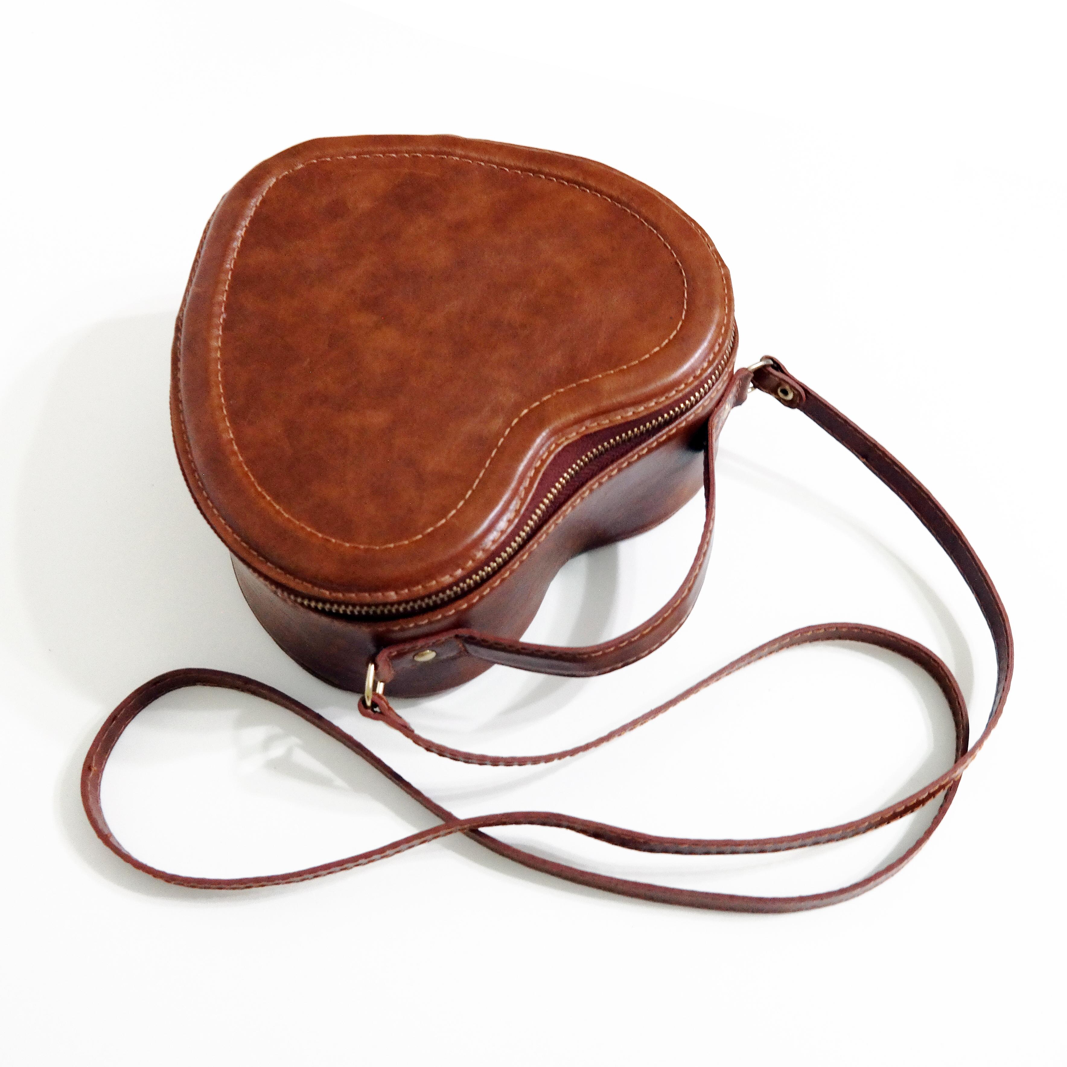 Bolsa Couro Line Heart Bag