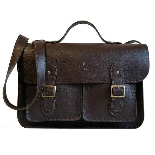 Bolsa e Pasta Satchel Pockets Line Store Leather Couro Marrom Escuro