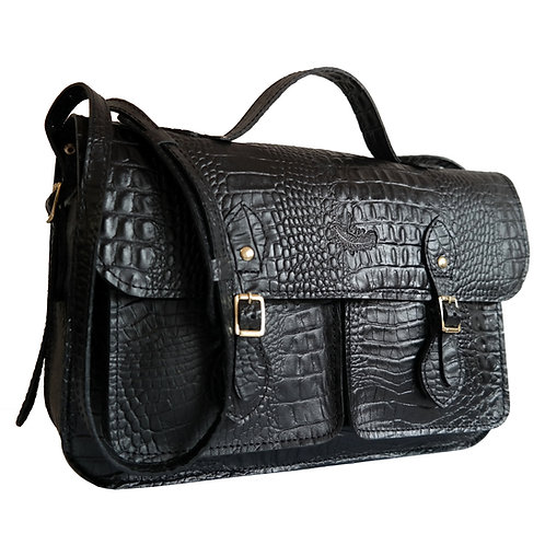 Bolsa e Pasta Satchel Pockets Line Store Leather Couro Preto Croco