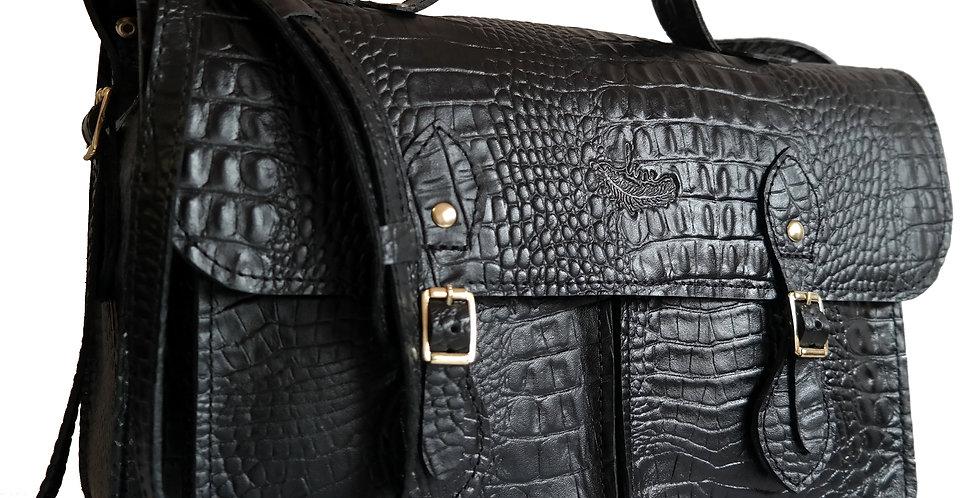 Bolsa e Pasta Satchel Pockets Line Store Leather Couro Preto Croco