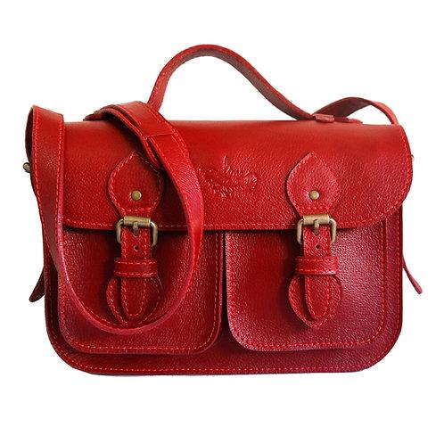 Bolsa e Pasta Satchel Pockets Line Store Leather Couro Vermelho