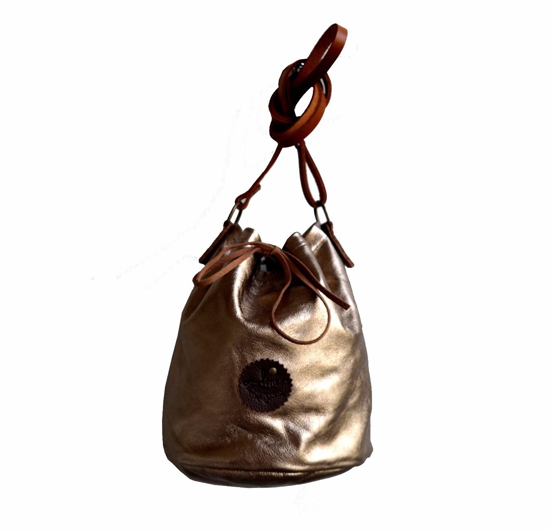 Bolsa Couro Line Bucket Bag