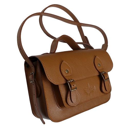 Bolsa e Pasta Satchel Clássica Line Store Leather Couro Caramelo