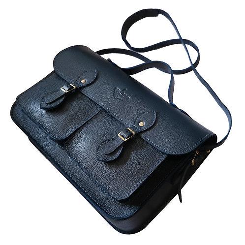 Bolsa e Pasta Satchel Pockets Line Store Leather Couro Marinho