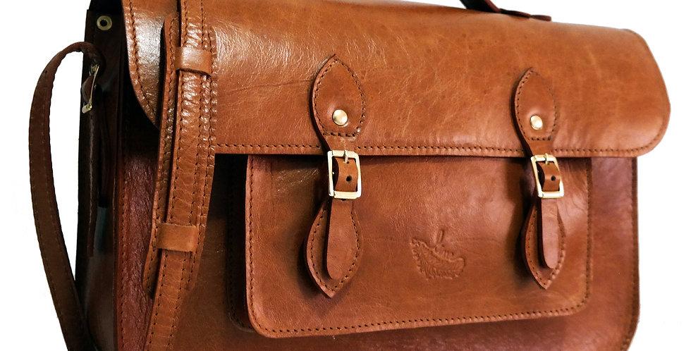 Bolsa e Pasta Satchel Clássica Line Store Leather Couro Whisky Rústico
