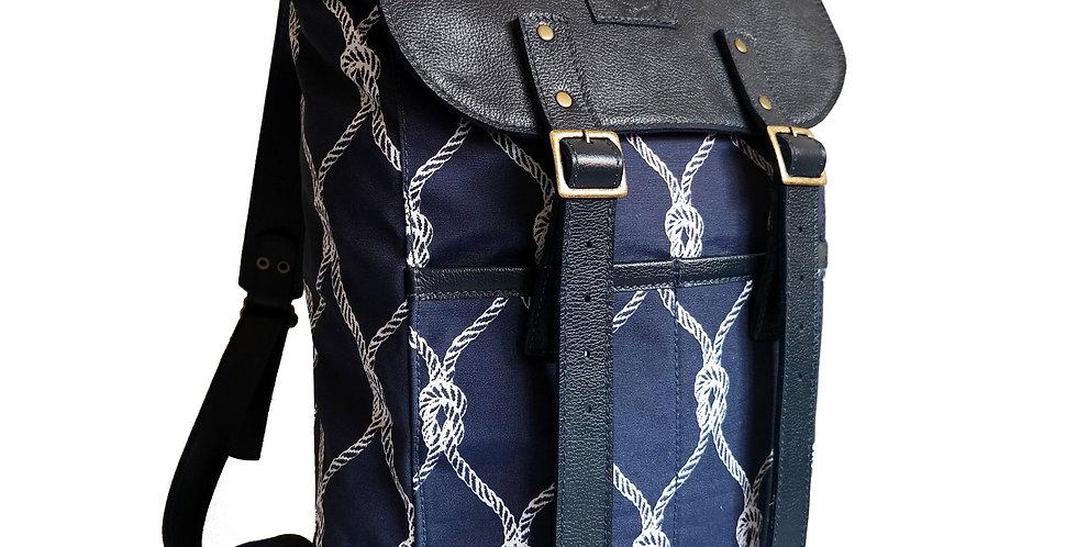 Mochila Adventure Couro e Tecido Line Store Leather - Cores Variadas