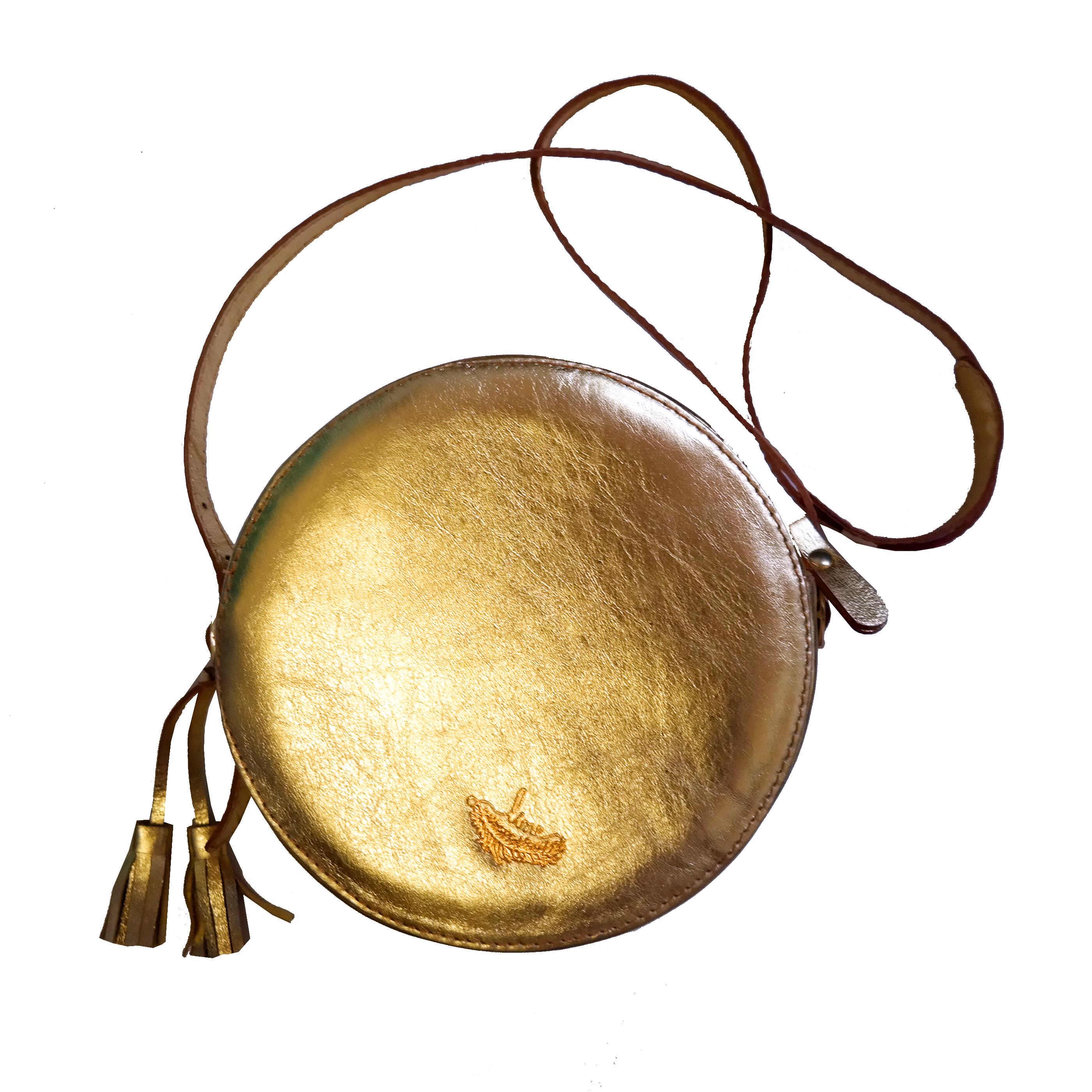 Bolsa Couro Moon Bag Dourada