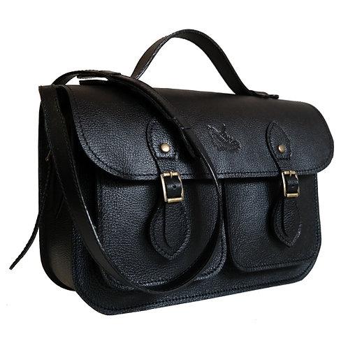 Bolsa e Pasta Satchel Pockets Line Store Leather Couro Preto