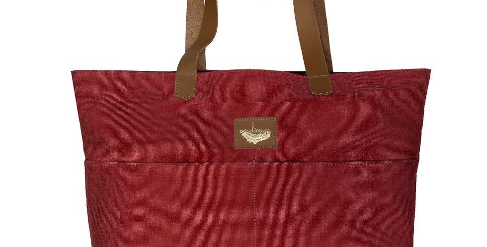 Bolsa Sacola Shopper N2 Tecido e Couro Line Store Leather - Cores Varia
