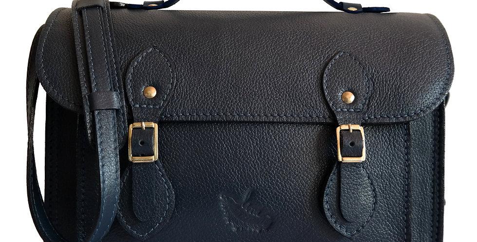 Bolsa e Pasta Satchel Clássica Line Store Leather Couro Marinho