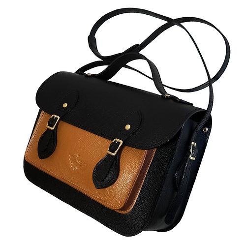 Bolsa e Pasta Satchel Clássica Line Store Leather Couro Bicolor - Cores Variadas