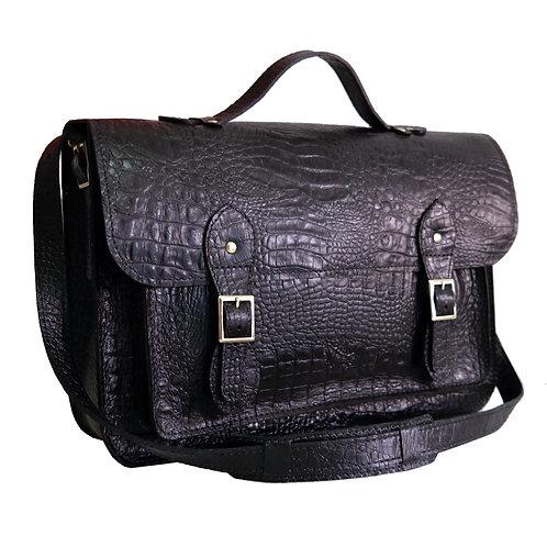 Bolsa e Pasta Satchel Clássica Line Store Leather Couro Preto Croco