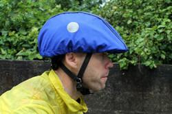 Blue helmet rain cover