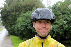 Black helmet rain cover