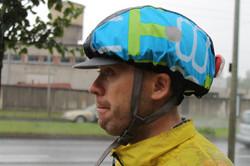 Black + turqoise helmet rain cover