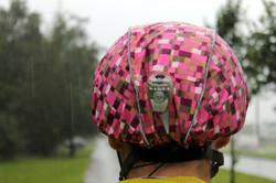 Pink helmet rain cover