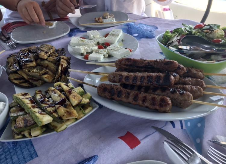 Boat food from Mykonos aboard