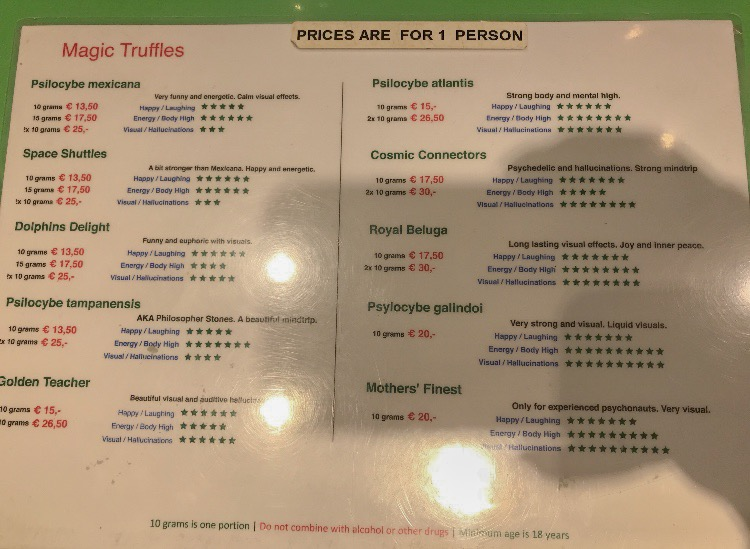 Price menu of Rookies