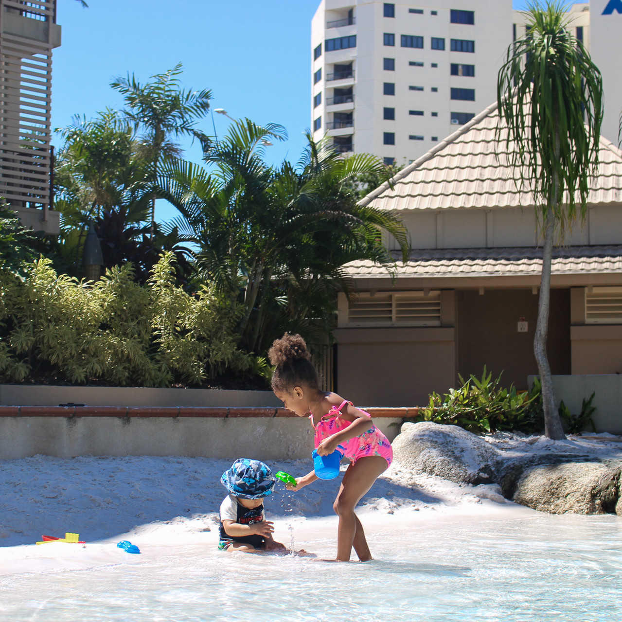 Outdoor Pool with sand