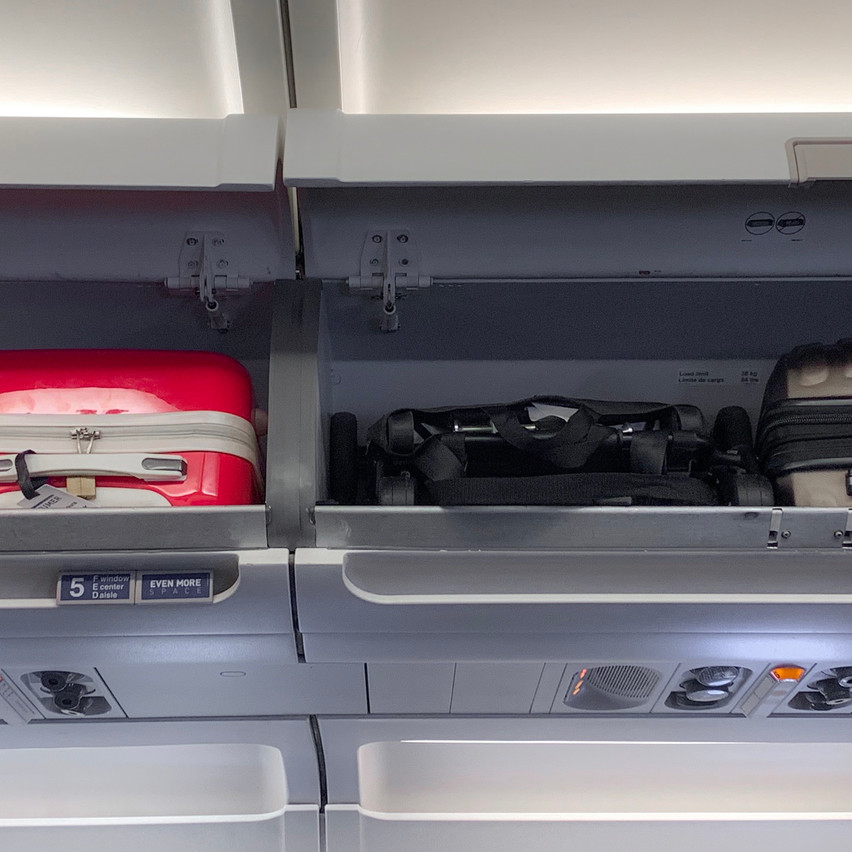 Folded on planes overhead bin