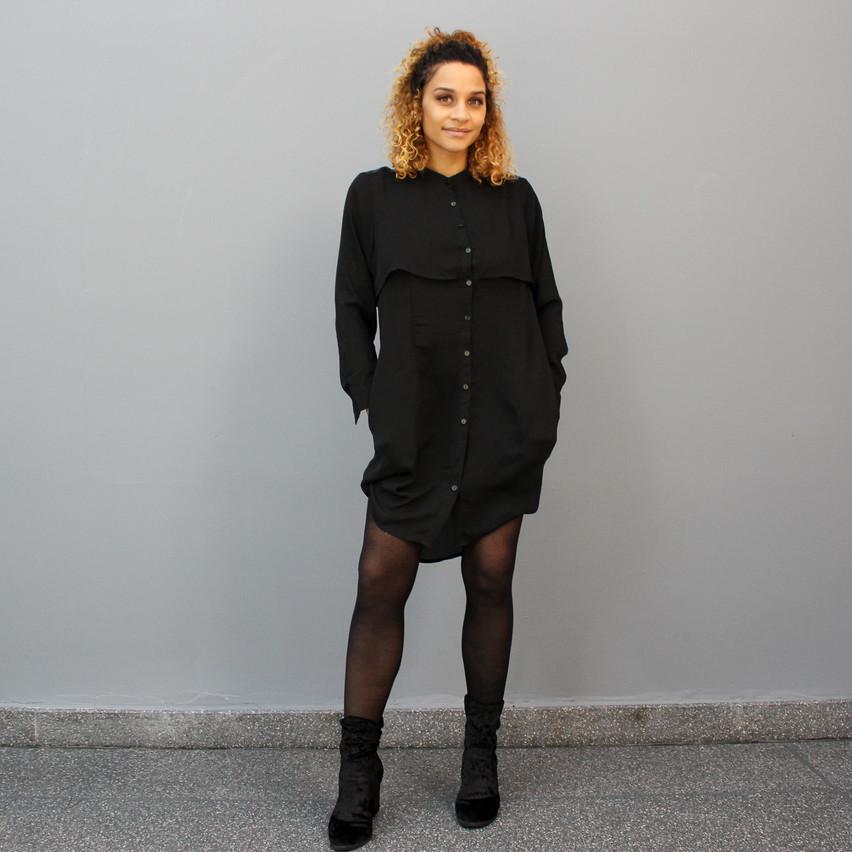 Sky - Black Leather Detail Dress