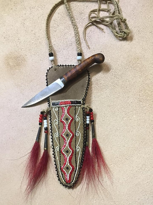 Woodland Neck Knife with Quilled Sheath