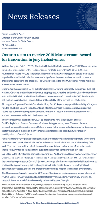 Munsterman Award Press Release