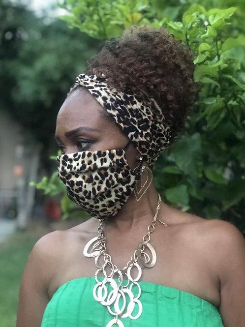 Leopard Headband Mask Set
