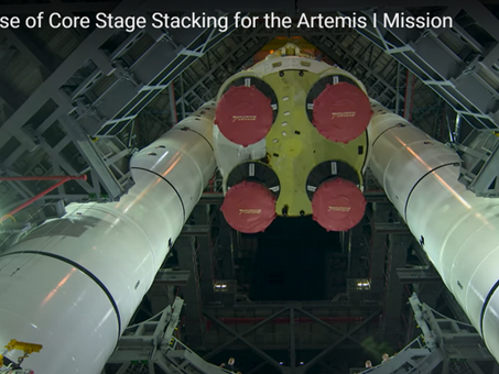 Space Launch System Rocket Being Assembled