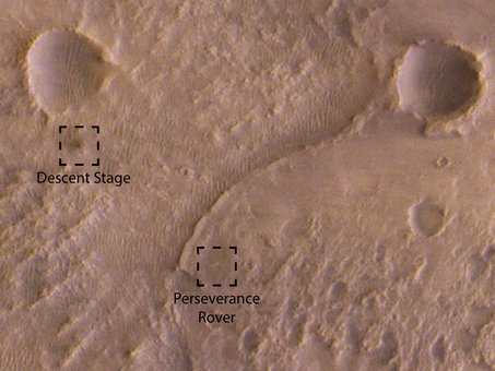 ExoMars orbiter images Perseverance at landing site