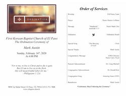 Ordination Service Bulletin