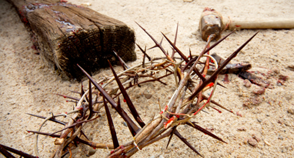 Cross, crown of thorns and nails