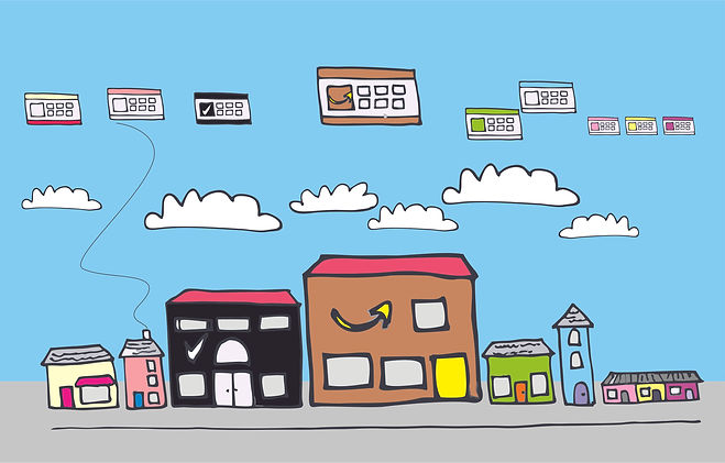 drawing of websites to represent the internet highstreet