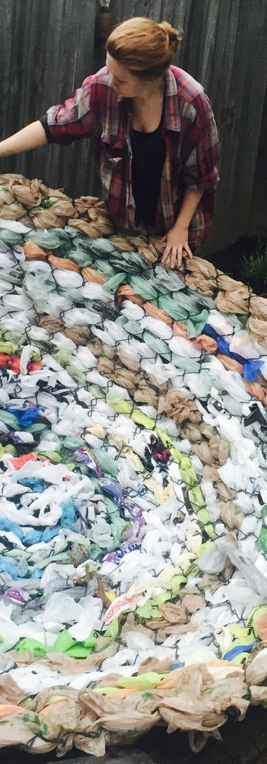 Plastic bag nest: in process