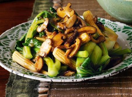 Asian Greens and Shiitake Mushrooms