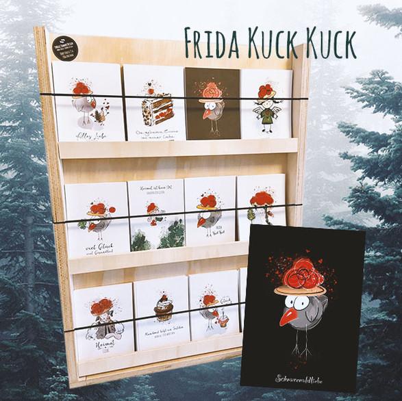 Frida Kuck Kuck Postkarten bei Schwarzwald Soul in Bühl, bei Café Felix in Gernsbach, bei den Schwarzwaldmädels in Baden-Baden, bei Kohlers Restaurant & Hotel Engel in Vimbuch und in meinem Online-Shop