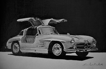Mercedes Gullwing - Graphite Pencil - 20