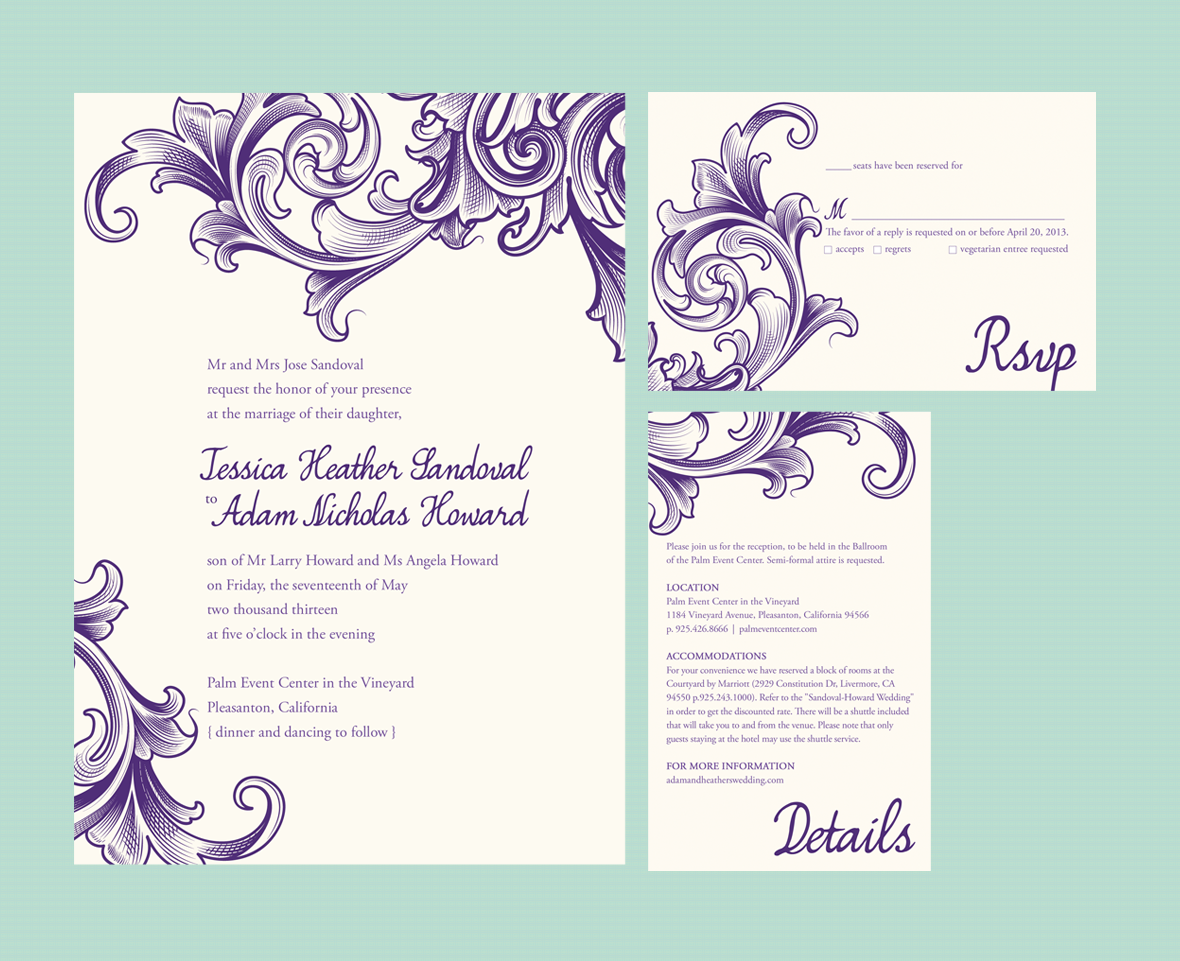 Fancy Scroll - Wedding Invite