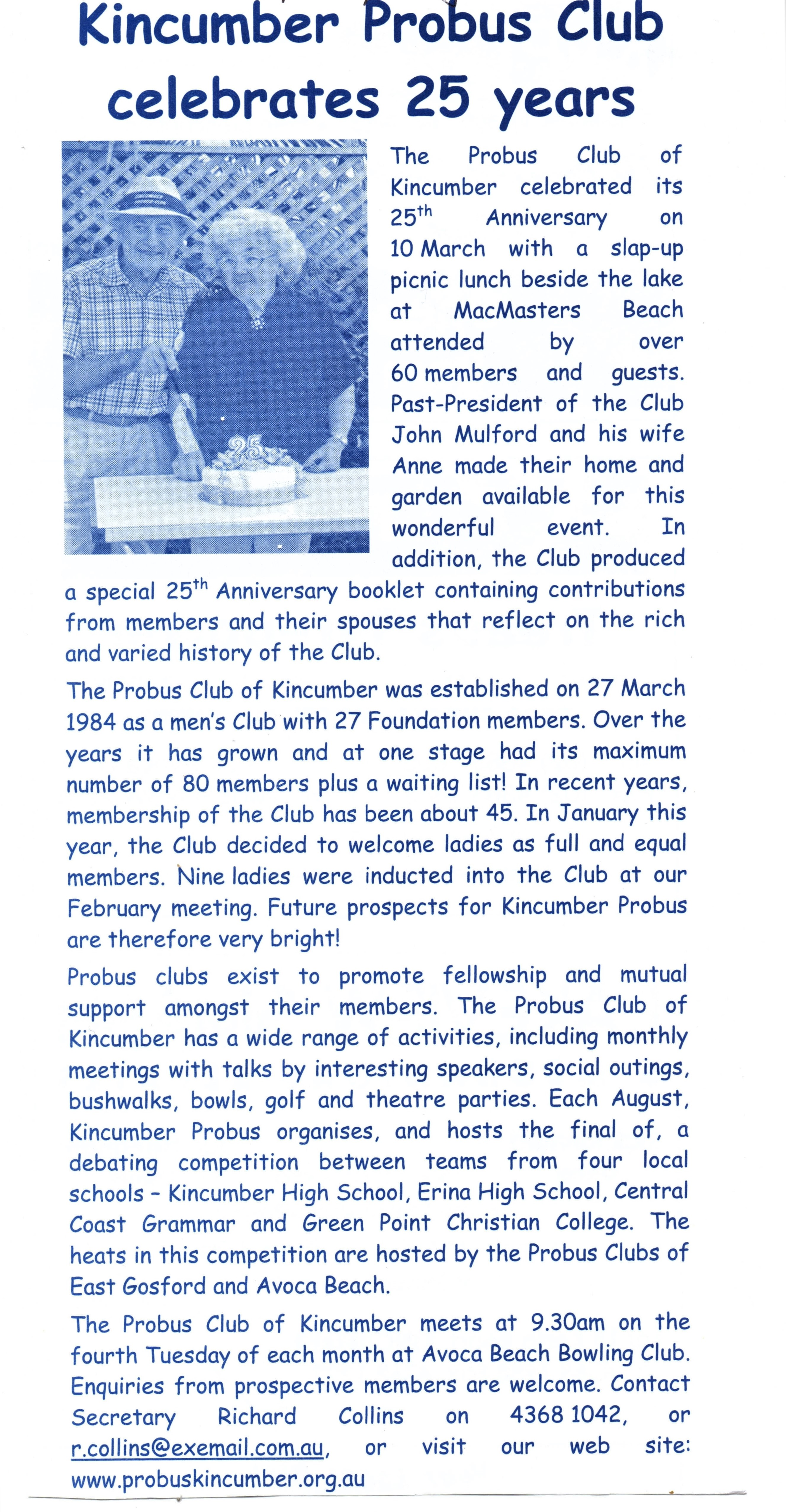 2009 Activities 25th Anniversary article