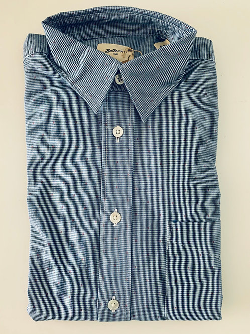 Bellerose blue and white cotton shirt with red dot