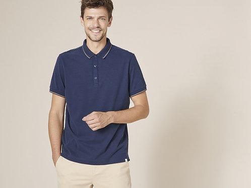Harris Wilson Navy Polo with Cream and Brown colar