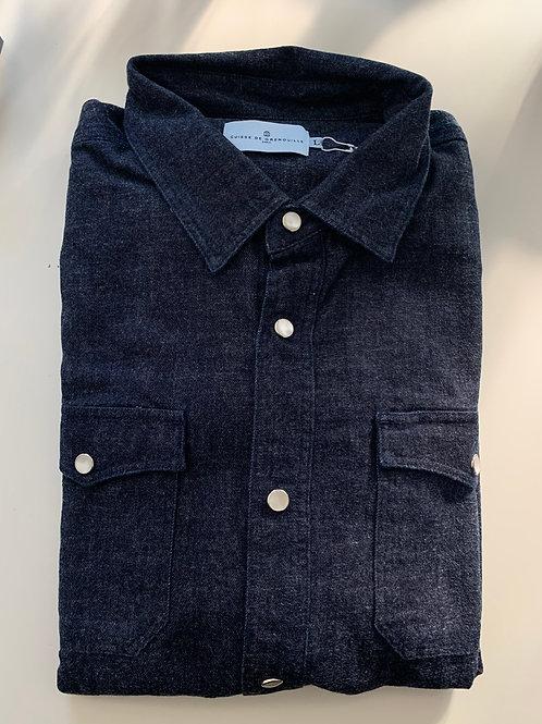 Cuisse de Grenouille Indigo denim shirt with snap