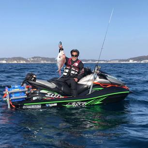 ジェットスキー釣り海上写真